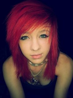 Red hair, dyed hair, indie scene, scene hair,  alternative, indie