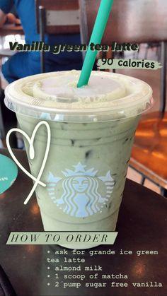 Low Calorie Starbucks Drinks, Café Starbucks, Bebidas Do Starbucks, Healthy Starbucks Drinks, Starbucks Secret Menu Drinks, How To Order Starbucks, Starbucks Recipes, Starbucks Green Tea Drinks, Sodas