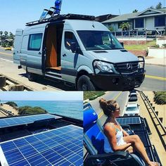 Aluminess roof rack on a Mercedes Sprinter van .enjoying the view! Aluminess front bumper too! Mercedes Sprinter Camper, Sprinter Van Conversion, Benz Sprinter, Camper Conversion, Kombi Motorhome, Truck Camper, Offroad Camper, Ford Transit, Ducato Camper