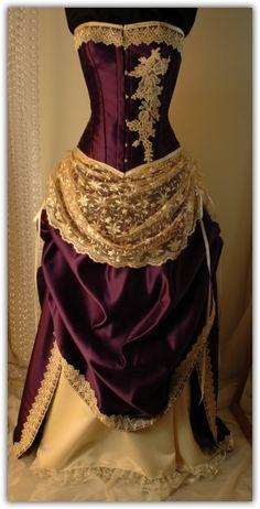 Purple/cream satin & lace corset gown.