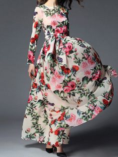 Buy Captivating Swing Floral Printed Round Neck Maxi Dress online with cheap prices and discover fashion Maxi Dresses at Fashionmia.com.