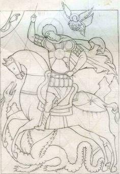 The Miracle of St. Byzantine Icons, Byzantine Art, Religious Icons, Religious Art, San Santiago, Writing Icon, Saint Tattoo, Russian Icons, Cartoon Sketches