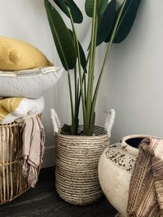 Charming form meets handy function in our small Bianca basket, handwoven in Indonesia of seagrass in a chic white and natural striped design. Bamboo Basket, Natural Materials, Hampers