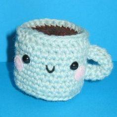 """""""Relaxing Cup of Café con Leche"""" Taza Amigurumi - Patrón Gratis en Español aquí: http://bigunki.blogspot.com.es/2009/07/patron-libre-de-taza-de-cafe-de-ana.html"""