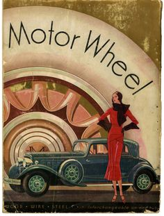 Interchangeable On One Hub, 1931 Classic 1930's Car Advert. Note running boards for gangsters to ride on shooting their Tommy Guns.