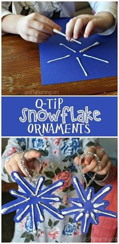 Q-Tip Snowflake Ornaments #Christmas craft for kids to make | http://CraftyMorning.com