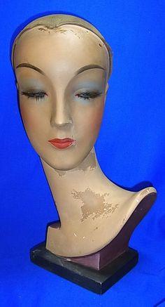 Art Deco German Display Head Mannequin Store Window Hat Periwgi Glass Eyes # 1 #ArtDeco