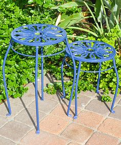 Blue Two-Piece Plant Stand Set
