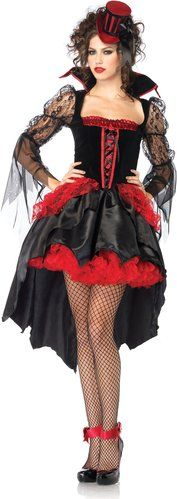 Gothic Midnight Mistress #Vampire Costume - red black lace and sheer drapes