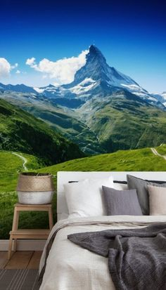 Adorn your wall with the glorious mountain view in this stunning Peak of the Matterhorn wall mural. Perfect for your lounge, bedroom or even dining room, choose this mountain wallpaper to completely transform your home! We have classic or premium paste the wall or textured peel and stick wallpapers to choose from. Discover a large collection of wall murals from Wallsauce! .#wallmural #wallsauce #homedecor #landscape #accentwall