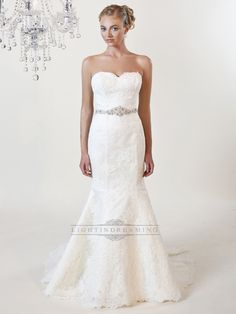 Strapless Mermaid Sweetheart Lace Wedding Dress with Beaded Belt