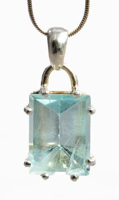 Aquamarine 6.8ct Faceted Gemstone Sterling Silver Handcrafted Pendant