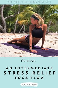 This 15 min intermediate/advanced yoga flow is for those who are looking to take their practice to the next level. This yoga flow is perfect for anyon. Stress Yoga, Yoga For Stress Relief, Yoga Flow Sequence, Yoga Sequences, Fitness Tracker, Fitness Motivation, Advanced Yoga, Plus Size Workout, Boho Beautiful