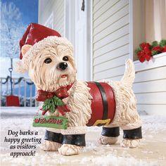 Holiday Motion Sensor Santa Dog