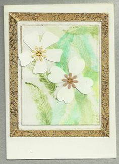 simple greeting card with water colour background and white flowers