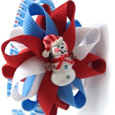 Snowman Hair Bow - Headband Set - Wrapped Headband - #Handmade #Etsy #Snowman #Winter #Christmas
