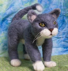 Needle Felted Cat OOAK by ahippiewithaminivan on Etsy