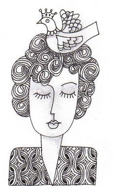 small face black and white Doodles Zentangles, Zentangle Patterns, Wal Art, Art Visage, Doodle Paint, Motif Floral, Zen Doodle, Doodle Drawings, Art Plastique