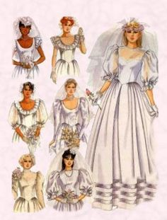 1980's wedding dress:long floor length dresses with low neckline with ruching on sleeves