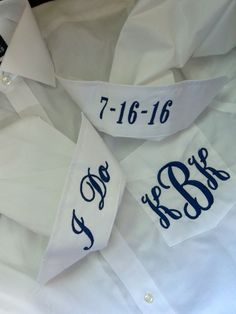 Ladies Monogrammed Big Shirt with Custom Embroidered Pocket & Cuffs, Bride Bridesmaids I Do Wedding Date Men's Button Shirt by BlumersEmbroidery on Etsy