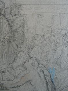CHASSERIAU Théodore,1843 - Ste Marie l'Egyptienne, Etude pour l'Eglise St-Merri - drawing - Détail 38