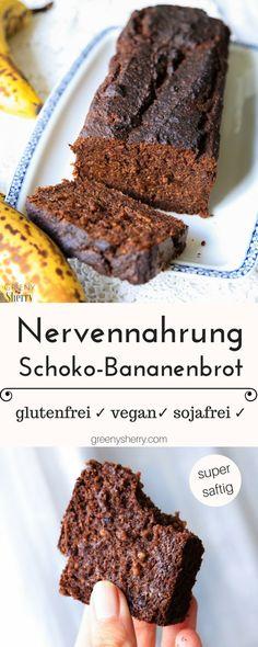 Gesunde Nervennahrung: Saftiges Schoko-Bananenbrot [glutenfrei] - Greeny Sherry - Vegane Rezepte & grün(er)leben | vegan food & life
