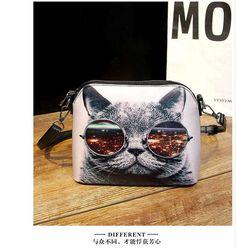 กระเป๋าขายดี กระเป๋าสะพายผู้หญิง พิมพ์ลายแมวเหมียวใส่แว่นตาเก๋มากๆ ทำจากหนัง PU Hot sale Cats Printing women Handbags Shell bag women PU leather messenger bags new arrival women cross-body bags WLHB1116