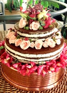 Naked Cake Rústico para um Moderno Casamento