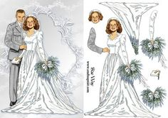 Vintage Wedding Day Card Front and Dcoupage