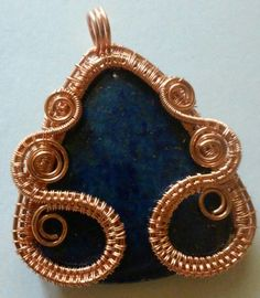 Stunning woven and wrapped pendant handmade by me. Lapis Lazuli wrapped in Vintage Copper makes up this beautiful pendant. This pendant measures 2 1/2 by 2 inches. See what my customers are saying about my jewelry