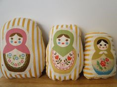 Russian Nesting Doll pillows. so cute for a girls room