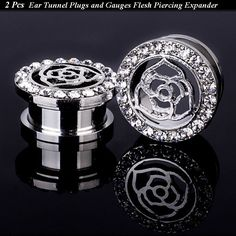 Pair  Hollow Floral Rose  Ear Tunnels Plugs Gauges Clear Crystal Gem Piercing Earring Jewelry  Ear Reamer Expander Size 8-20mm