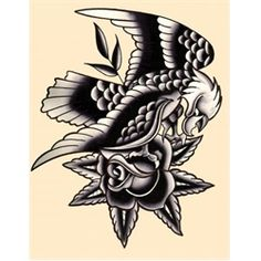 Traditional Eagle by Mr. Skully Tattoo Art Canvas Print. Mr. Skully tattoos at American Beauty Tattoo Parlor in Sunset Beach, California. If you like his work, also check out Opie Ortiz, shop owner.Black and white retro traditional style eagle with rose, reminiscent of old military tattoos