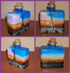 Painted bottle with Paris landscape in acrylic....