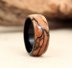 Ebony, Spalted Maple Wooden Ring Redux