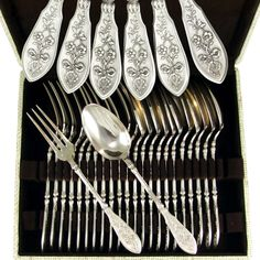 24pc Ornate Antique French Sterling Silver HENIN & Cie Forks & Spoon Set, Flatware Service for 12