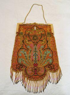 """antique Art Nouveau Art Deco micro beaded purse/bag 7X10+1/2"""" Best Quality!! #Clutch"""