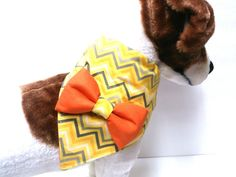Dog Bandana with or without Bow Yellow Grey and White by ELMEDO