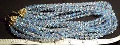 Vintage 8-Strand Faceted Pale Blue Aurora Borealis Necklace. #Multistrand
