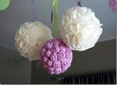 Hanging flower pom poms made from crepe paper & cupcake wrappers