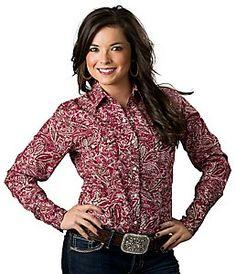 Panhandle Slim® Women's Red and Brown Paisley Print Long Sleeve Western Shirt
