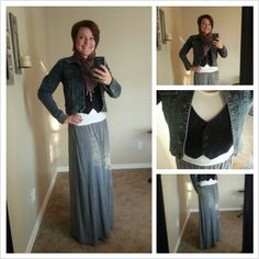 What I wore Today - grey maxi skirt, jeans jacket, vest and booties  www.passionateLIFE.me
