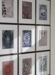 Mimosa Lane: Ideas for DIY Art - For this one you can enlarge some old stamps and print on thicker and nicer paper and frame individually.  What makes this so beautiful is that you can appreciate the detail in each stamp because they are larger, and because they are presented as a collection.  Being part of a large group gives more importance to the project.