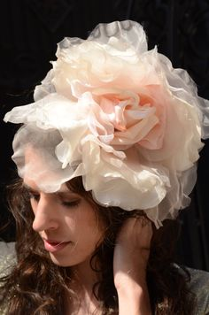 Light Pink Floral Fascinator Headband- great bridal / wedding hair accessory!