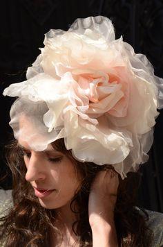 Light Pink Floral Fascinator Headband- great bridal / wedding hair accessory!