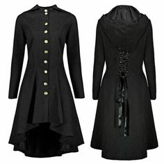 Buy vintage Gothic coats Women 2018 Spring Autumn slim high low lace-up buttons hooded Steampunk Tail Trench Coat Long Party tops Steampunk Jacket, Asymmetrical Coat, Gothic Tops, Coats For Women, Clothes For Women, Vintage Coat, Vintage Gothic, Neo Victorian, Party Tops
