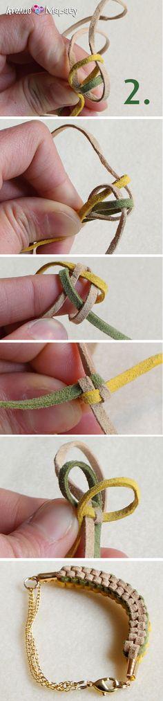 Петъчно вдъхновение: квадратна плетка с плоски шнурове! Стъпка 2: