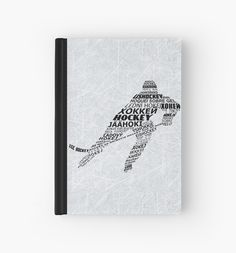 """Typographic Hockey Player Languages "" Hardcover Journals by gamefacegear 