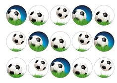 Printed edible toppers, perfect for decoration birthday cakes, cocktails etc with images of soccer balls. Used as cupcake toppers, cake toppers, cocktail toppers, pie toppers and dessert and icecream decorations. Matching cake wrap available. Order today before 10am and qualify for next day delivery. Buy now!
