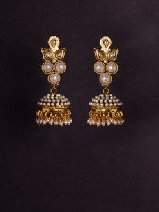 Golden Jhumki with pearl